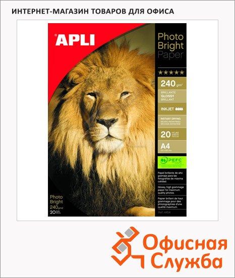 фото: Фотобумага для струйных принтеров Apli А4 20 листов, 240г/м2, глянцевая, 4454