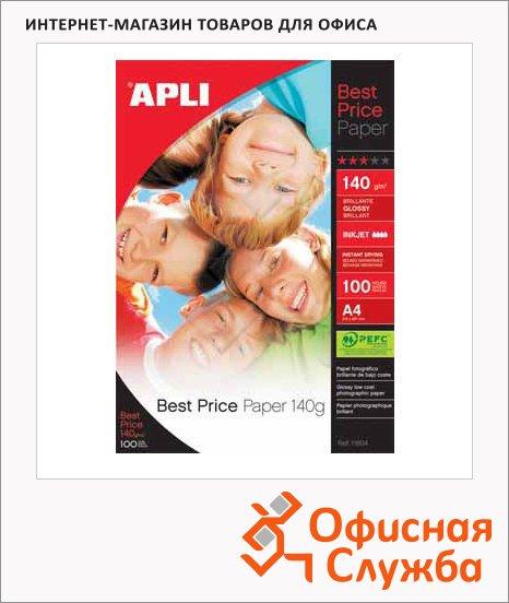 Фотобумага для струйных принтеров Apli А4, 100 листов, 140г/м2, глянцевая, 11804