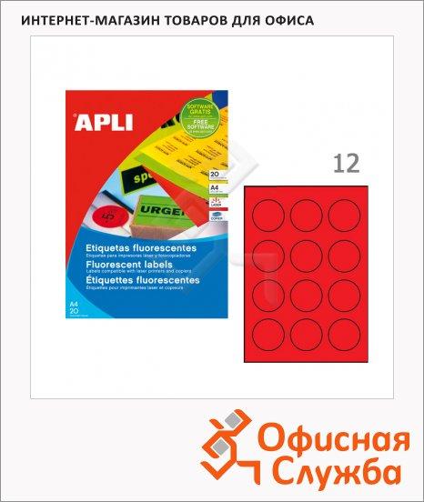 Этикетки цветные флюорисцентные Apli, d=60мм, 240шт