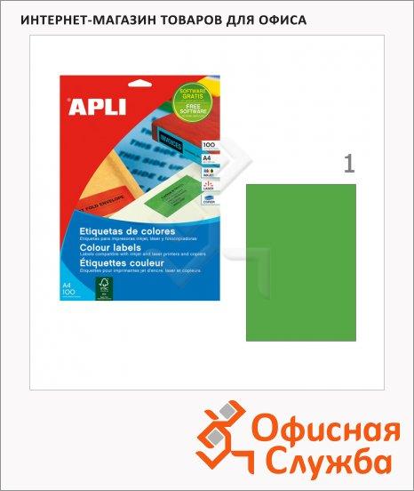 Этикетки цветные Apli, 210х297мм, 100шт