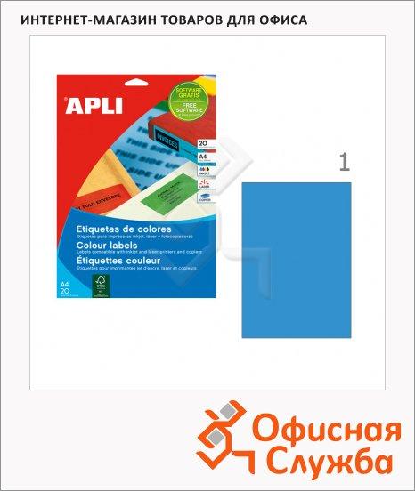 Этикетки цветные Apli, 210х297мм, 20шт