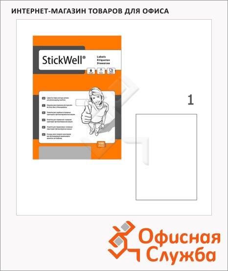 Этикетки белые Stickwell 11258, 210x297мм, 100шт