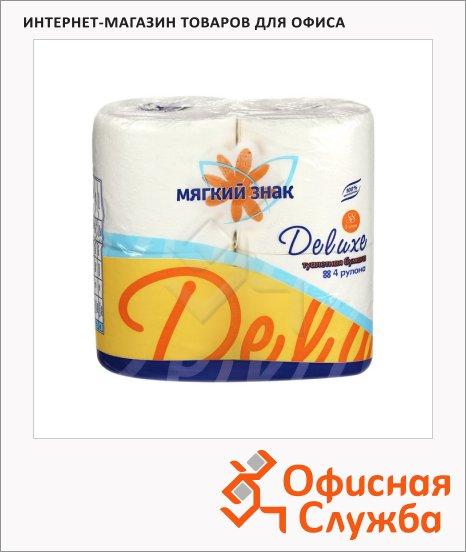 Туалетная бумага Мягкий Знак Deluxe без аромата, 2 слоя, 4 рулона, 175 листов, 21.88м