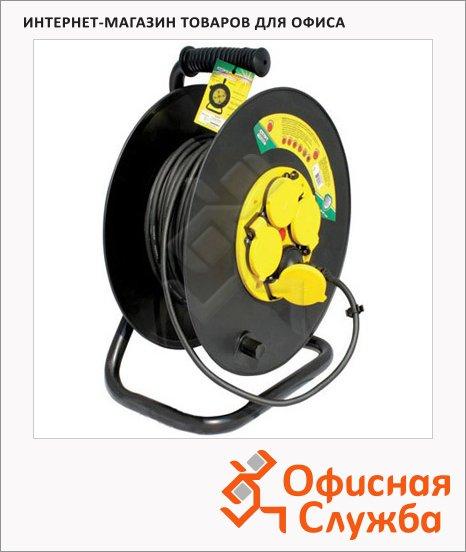 фото: Удлинитель электрический на катушке 4 розетки 50м, черный