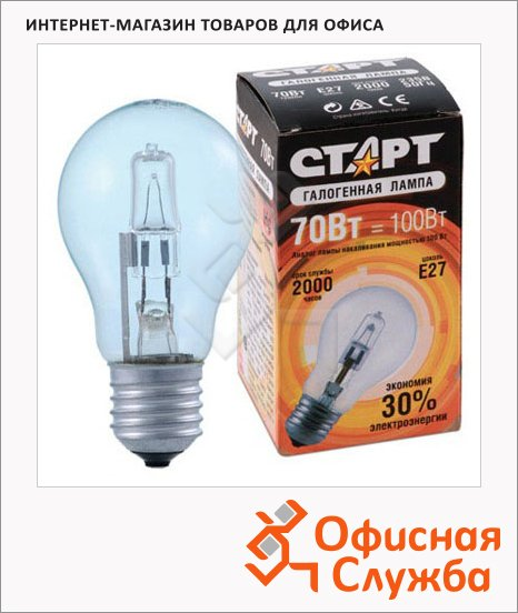 Лампа галогенная Старт А55 70Вт, E27, прозрачная