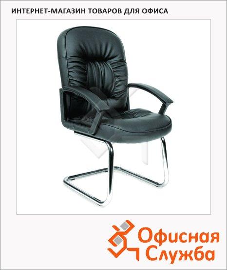 Кресло посетителя Chairman 418 V иск. кожа, черная, на полозьях