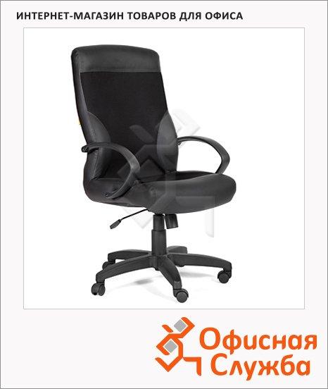 фото: Кресло руководителя 310 иск. кожа черная, матовая, комбинированная с тканью, крестовина пластик