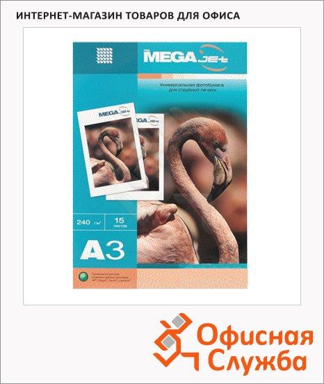 Фотобумага для струйных принтеров Mega Glossy Premium А3, 15 листов, 240 г/м2, глянцевая,