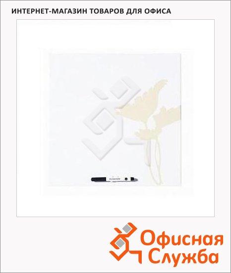 фото: Доска маркерная Cream Flower MB7555397 40х40см лаковая, пластиковая, белая с кремовым рисунком, без рамы