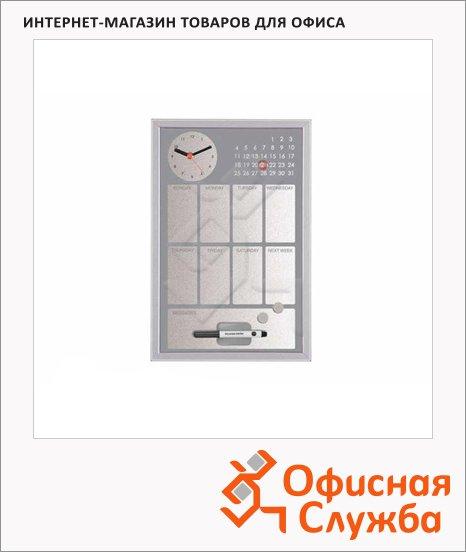 Доска магнитная маркерная Bi-Office CG016652 30х45см, серая, лаковая, деревянная рама, с часами