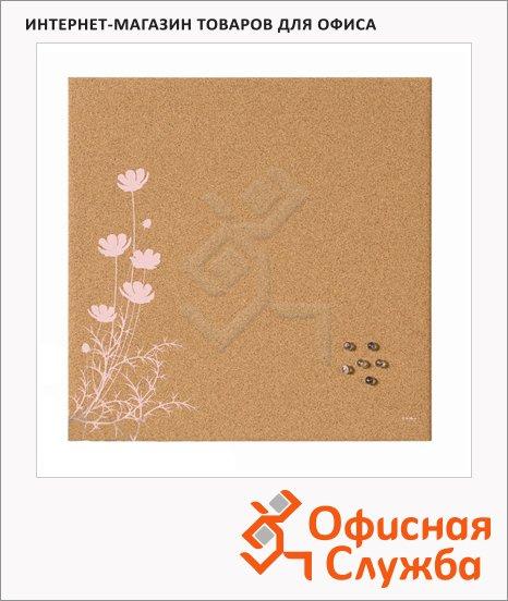 фото: Доска пробковая Bi-Office Pink Flower SF751262397 40х40см коричневая с рисунком, без рамы