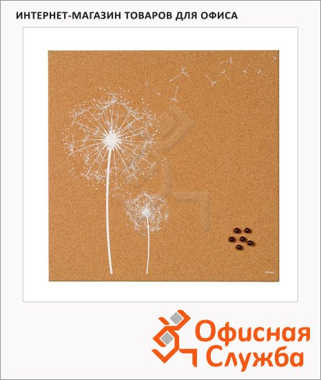 Доска пробковая Bi-Office SF751252397 40х40см, коричневая с рисунком, без рамы