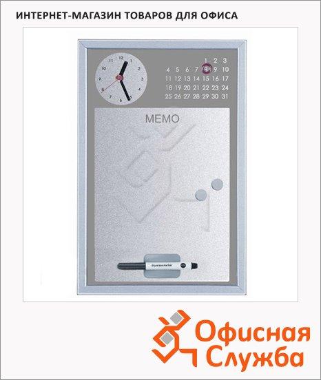 фото: Доска магнитная маркерная Bi-Office CG016752 30х45см серая, лаковая, деревянная рама, с часами и календарем
