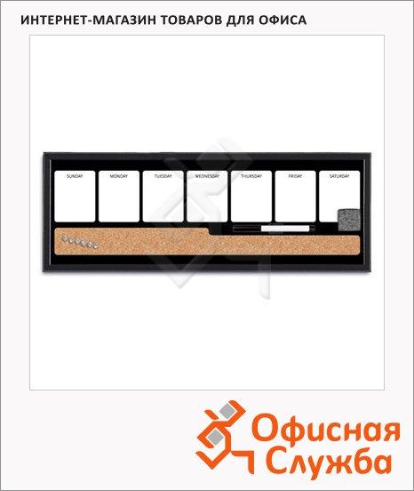 фото: Доска информационная Bi-Office MP02194 60х20см серая, пробковая/ магнитная маркерная, деревянная рама