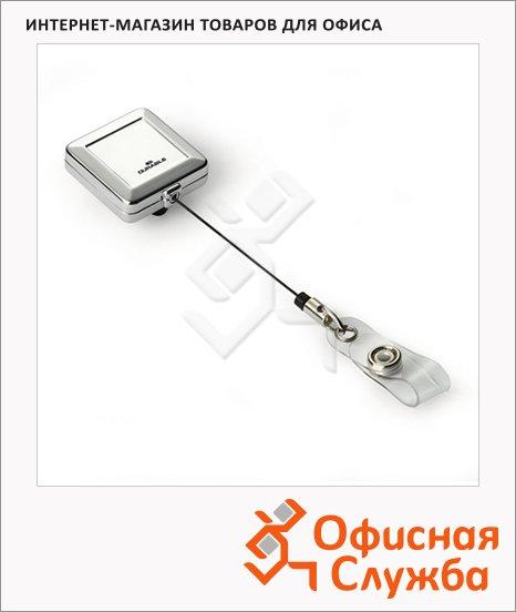 Рулетка для бейджа Durable 80 см, серебристый, 10 шт/уп, 8325-23