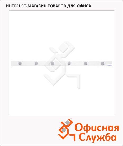 Магнитная планка Magnetoplan 16271M 100х5см, самоклеящаяся, белая, с 6 магнитами standart