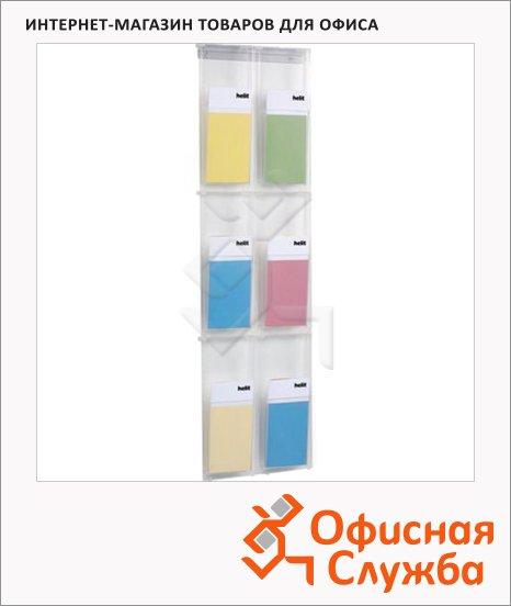 фото: Лоток навесной для бумаг Helit Placativ 6 отделений 1/3 А4, 284х59х978 мм, 6810802