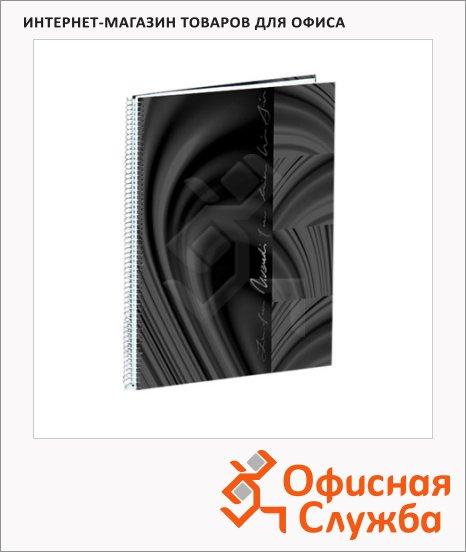 Тетрадь Brunnen Vivendi черная, А5, 100 листов, в клетку, на спирали, жесткая обложка