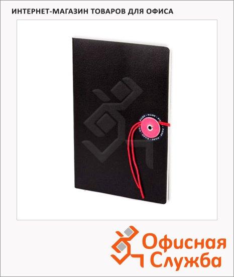 Блокнот Brunnen Filou черный, 9.5х12.8см, 32 листа, в клетку, на сшивке, на завязках