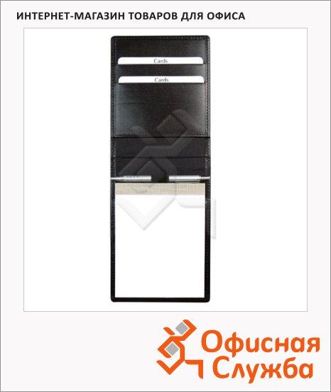 фото: Блокнот Brunnen Ля-Фонтейн черный 135x100мм, из натуральной кожи, нелинованный