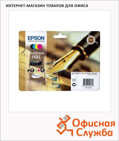 Картридж струйный Epson C13 T1636 4010, 4 цвета, 4шт/уп
