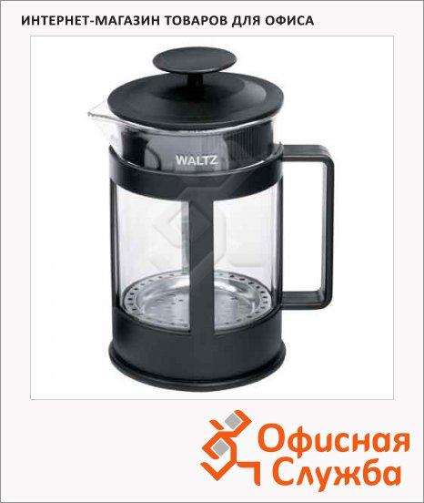 Чайник заварочный френч-пресс Waltz Утро, черный, стекло/пластик