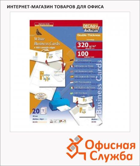 фото: Визитные карточки Decadry белые 85х54мм, 320г/м2, 20листов х10шт, двойная плотность