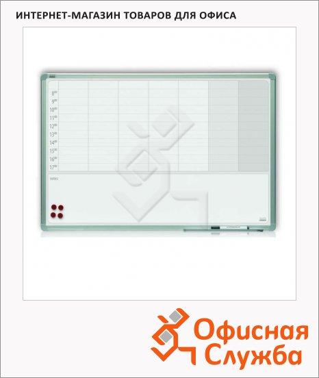 фото: Доска планирования 2X3 TP 003 90х60см белая, керамическая, магнитная маркерная, алюминиевая рама, на неделю + заметки