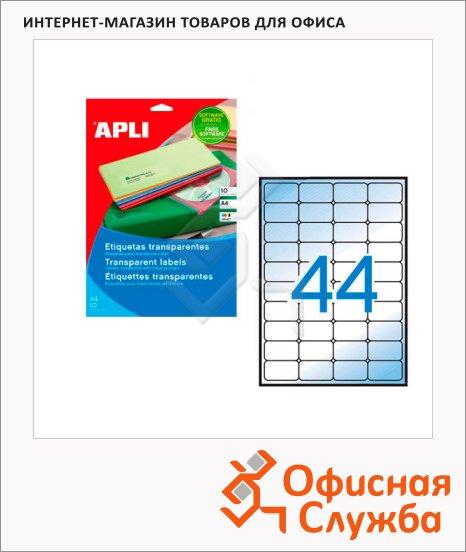 Этикетки прозрачные Apli 10050, 48.5x25.4мм, 440шт