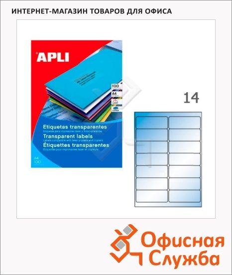 фото: Этикетки прозрачные Apli 10052 99.1x38.1мм, 140шт
