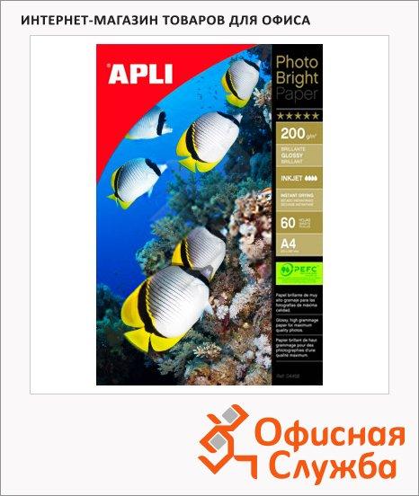 фото: Фотобумага для струйных принтеров Apli Satin А4 60 листов, 200 г/м2, матовая, 4136