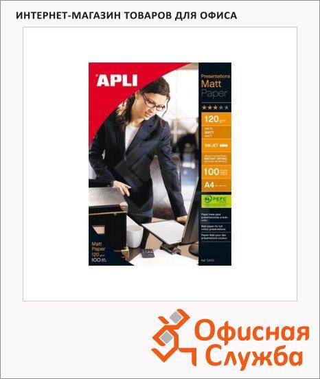 фото: Фотобумага для струйных принтеров Apli Satin А4 100 листов, 120 г/м2, матовая, 4133