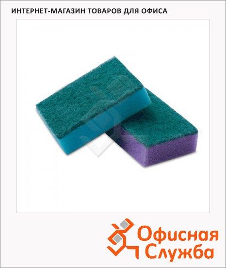 Губка для мытья посуды Лайма Standart поролоновые с абразивным слоем, 2.6х7.9х5.3см, ассорти