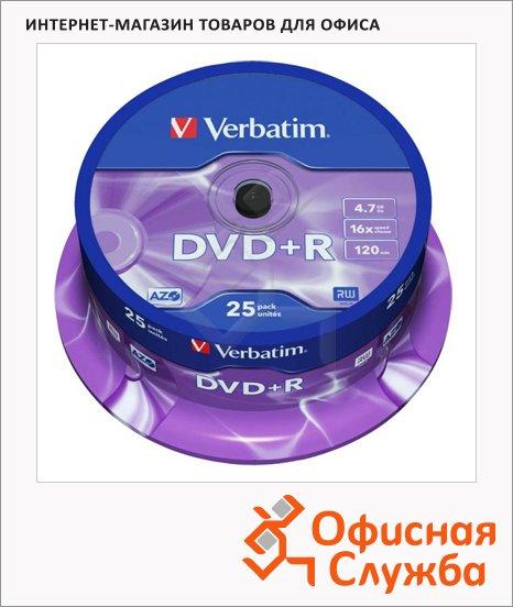 Диск DVD+R Verbatim 4.7Gb, 16х, Cake Box