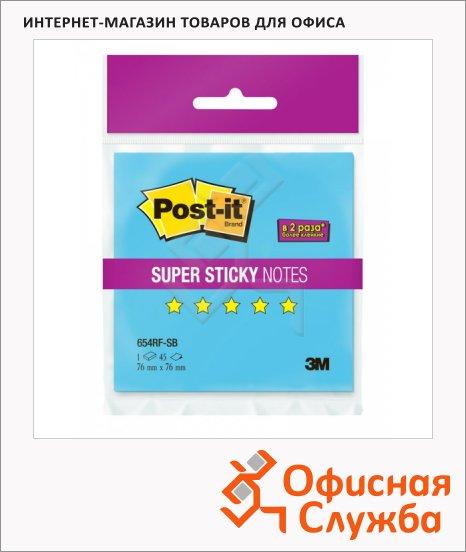 Блок для записей с клейким краем Post-It Super Sticky, неон, 76х76мм, 45 листов