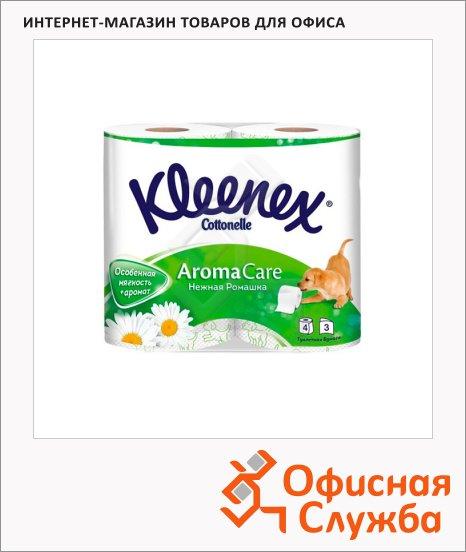 Туалетная бумага Kleenex Aroma Care ромашка, белая с рисунком, 3 слоя, 155 листов, 17.3м