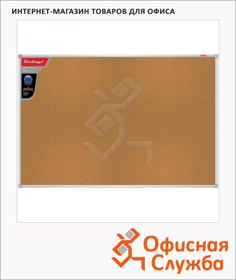 Доска пробковая Berlingo Premium, коричневая, алюминиевая рама