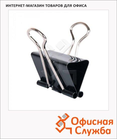 Зажимы для бумаг Office Space, черные, 12 шт/уп