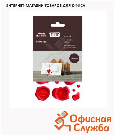 Печати для конвертов Avery Zweckform Living 62016, красные, d=19мм, 10шт на листе, 3 листа, 30шт
