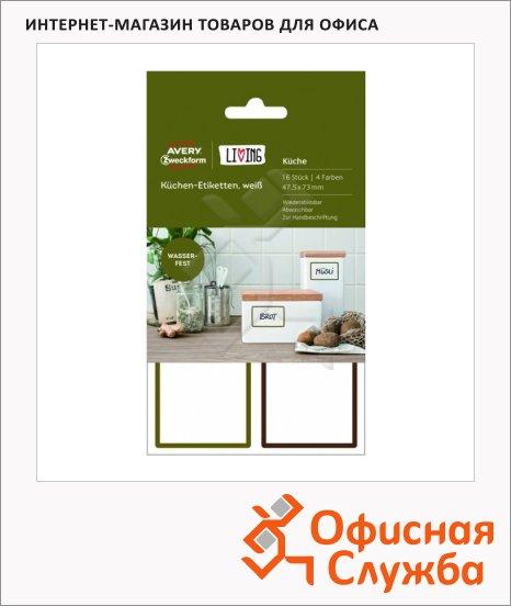 Этикетки удаляемые Avery Zweckform Living 62002, белые, 47.5х73мм, 4шт на листе А4, 4 листа, 16шт, надписи от руки, для кухни