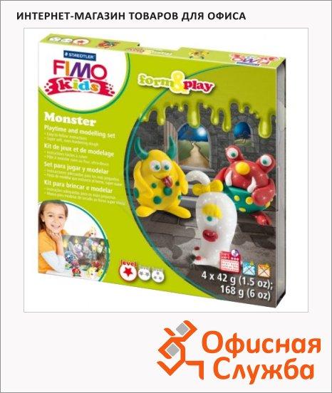 Набор для лепки из полимерной глины Fimo Kids create&play Монстр, 4 цвета x42г