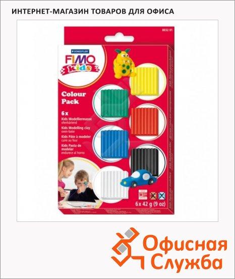 Набор полимерной глины Fimo Kids Базовый, 6 цветов по 42г