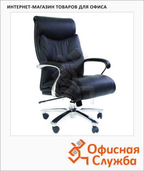 фото: Кресло руководителя Chairman 401 нат. кожа черная, крестовина хром