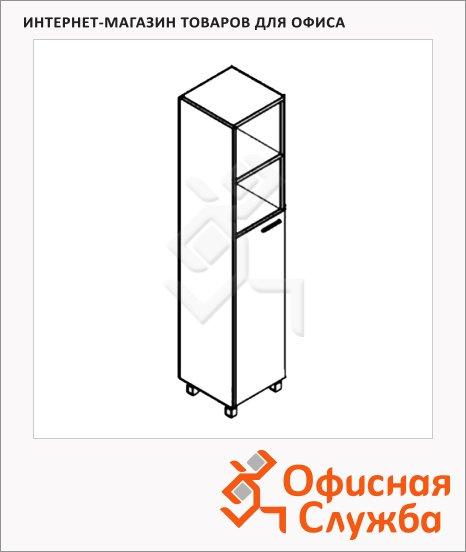 фото: Шкаф-колонка Skyland Offix NEW OHC 45.6 дуб сонома светлый/металлик, 456х450х2147мм, с глухой средней дверью