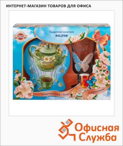 фото: Чай Чайный дирижабль с чабрецом черный, листовой, 100г, ж/б, с бокалом