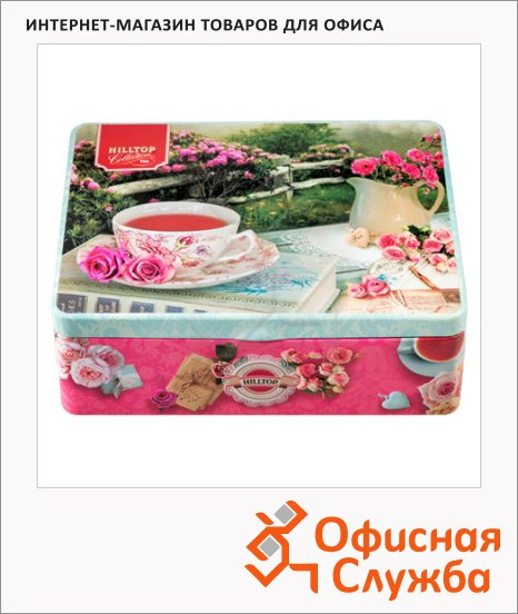 Набор чая Hilltop Английское чаепитие, 4 сорта, листовой, 200г, ж/б, с ситечком