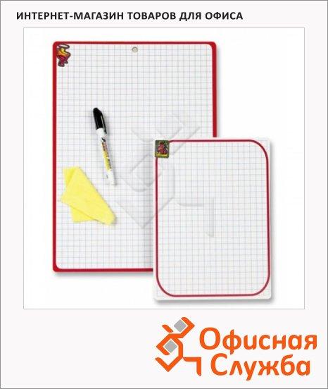 Доска планшет Attache А4, белая, пластиковая, красная рама, в клетку