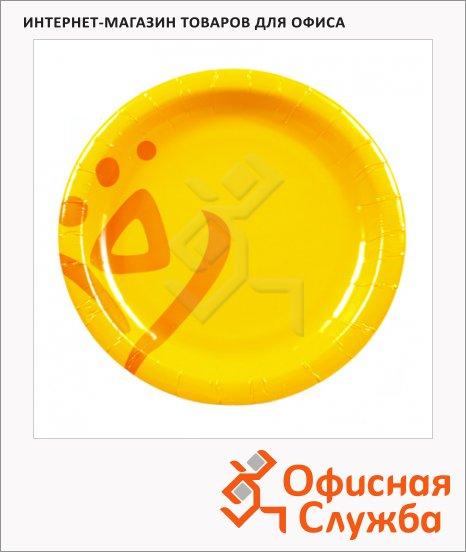 Тарелка одноразовая Huhtamaki Whizz, желтая, 50шт/уп