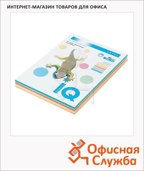 Цветная бумага для принтера Iq Color MIX Pale, А4, 5 цветов, 80г/м2, 250 листов