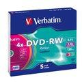Диск DVD-RW Verbatim 4.7Gb, 4x, Slim Case, 5шт/уп